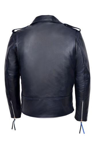 Classic in blu Brando Designer Biker scuro pelle Fitted Mens wWqRS