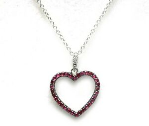 Effy new pave ruby heart pendant 14k white gold necklace 18 ebay image is loading effy new pave ruby heart pendant 14k white aloadofball Images