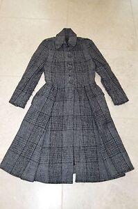 Burberry boutonné gris Us en Taille 6 unique manteau Uk laine Femme 8 long sur le Manteau qax8tw6n
