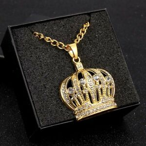 1Pc-Men-Hip-Hop-Gold-Crystal-Crown-Shape-Pendant-Chain-Necklace-Jewelry-Gift