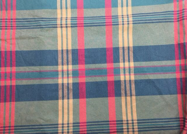 2 3 8 Yards X 56 Cotton Madras Plaid Upholstery Fabric Red Gold