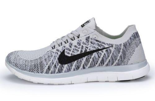 free shipping 952e2 3865b Nike 4.0 Flyknit Mens Running Shoes 10 Pure Platinum Black 717075 005