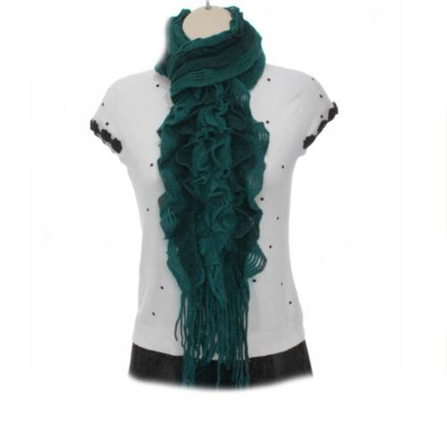 Womens Ladies Woolie Knitted Bobble Ruffle Scarf