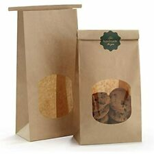 Bagdream Bakery Bags With Window Kraft Paper 100pcs 45x236x96 Inches Tin Tie