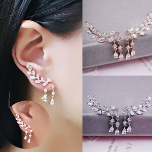Women-Fashion-Crystal-Zircon-Leaves-Tassel-Ear-Stud-Gold-Silver-Earrings-Jewelry