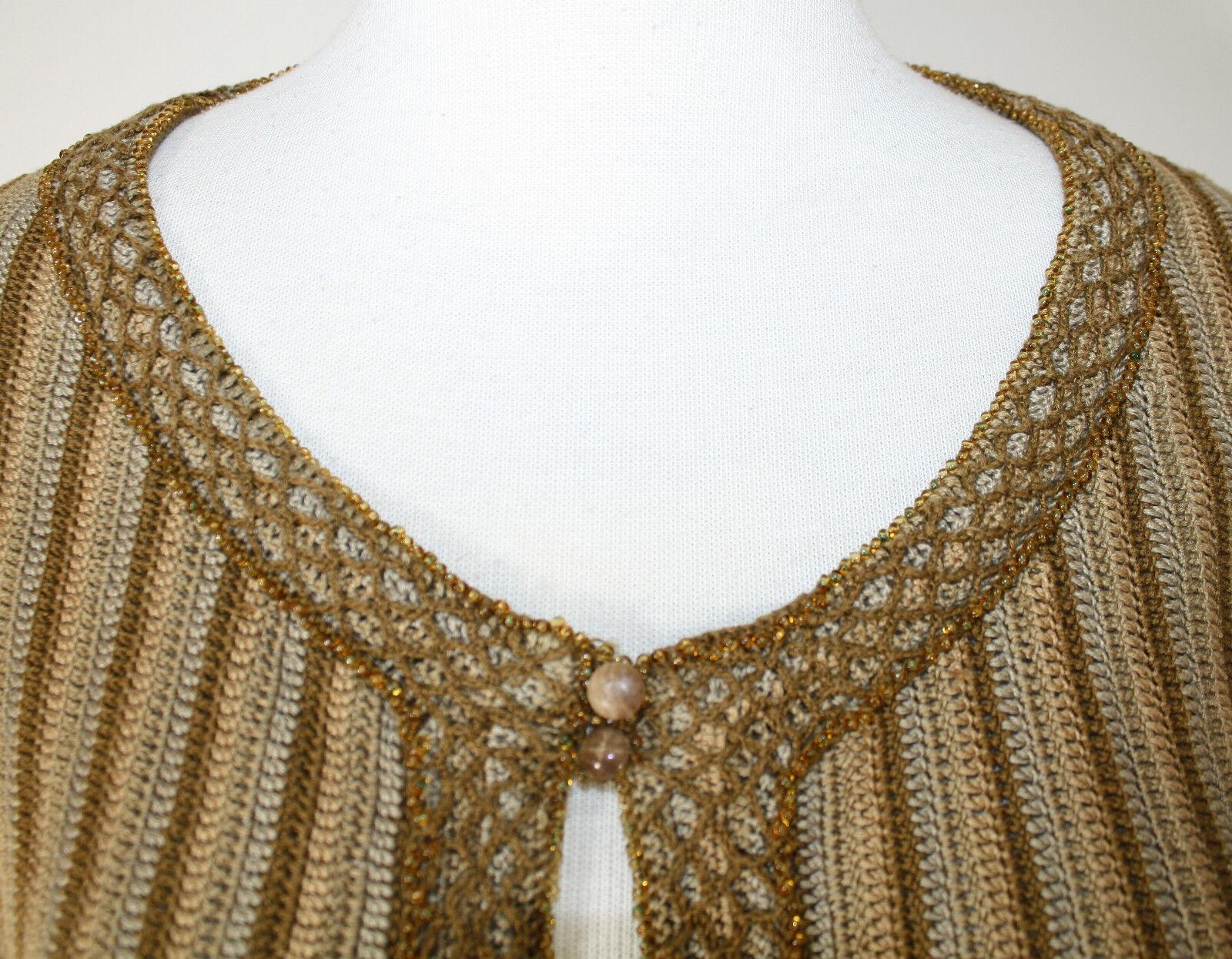 GIULIANNA TESTINO TESTINO TESTINO Earth Tones Tan Brown LS Beaded Woven Sweater S M 0288cf