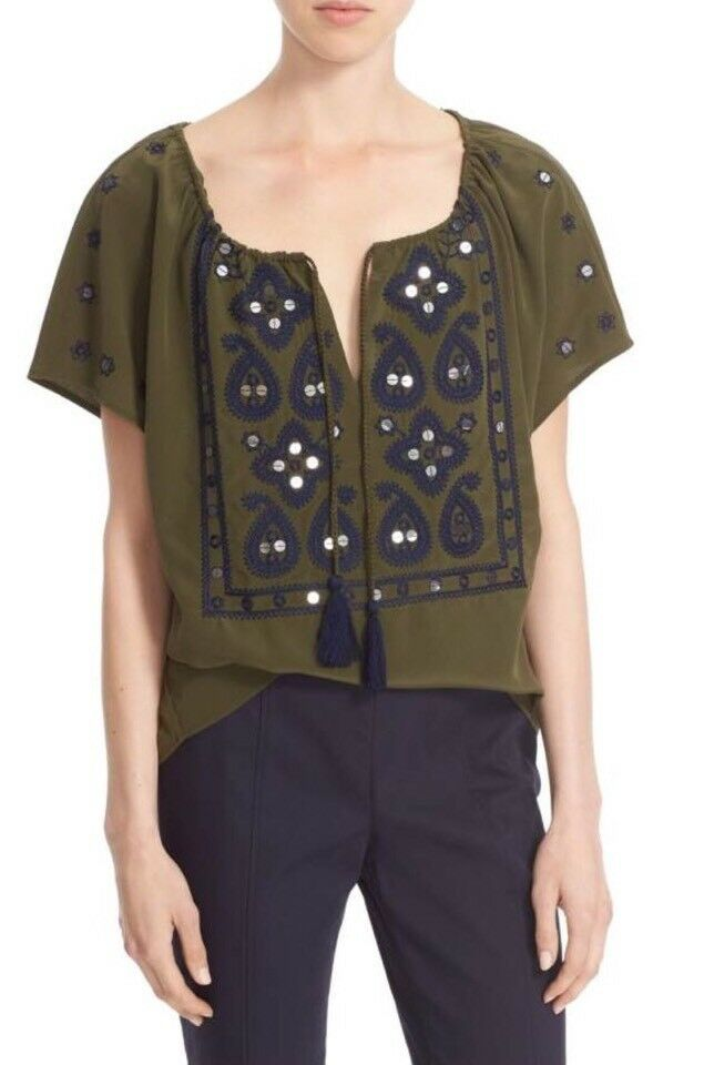 Tory Burch Camille Woherren Blouse Größe 0 Split Neck Embroiderot Peasant Top
