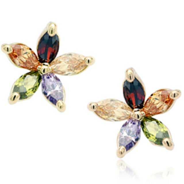 a2d576f40 Rose gold finish colourful star multi colour stud earrings quality  jewellery UK