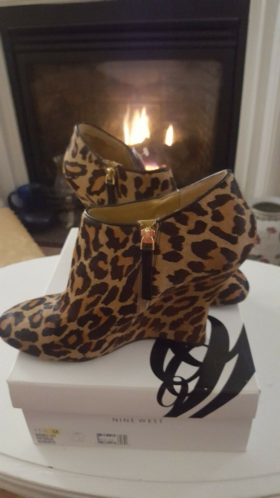 Nine West Wedge Talons Hauts Imprimé Animal Fermeture Low bottes Style Sz 11.5 M New In Box