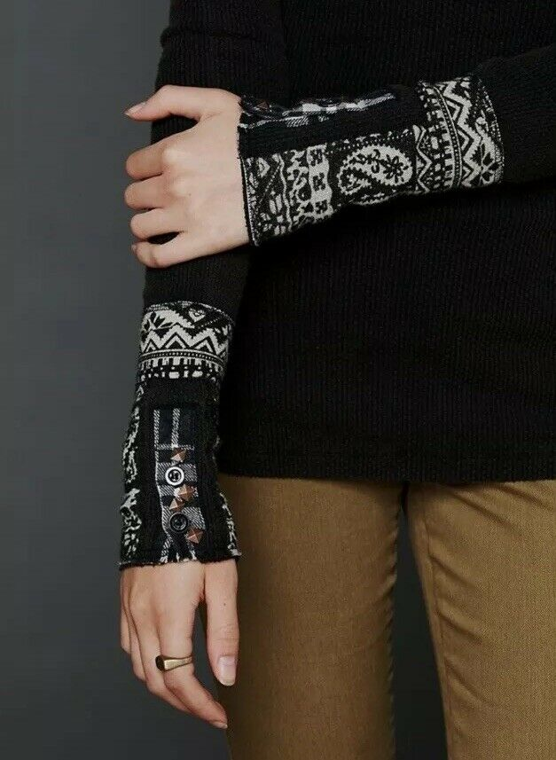 Rare Free People Hyperactive Cuff Paisley Studded Cuff Thermal S