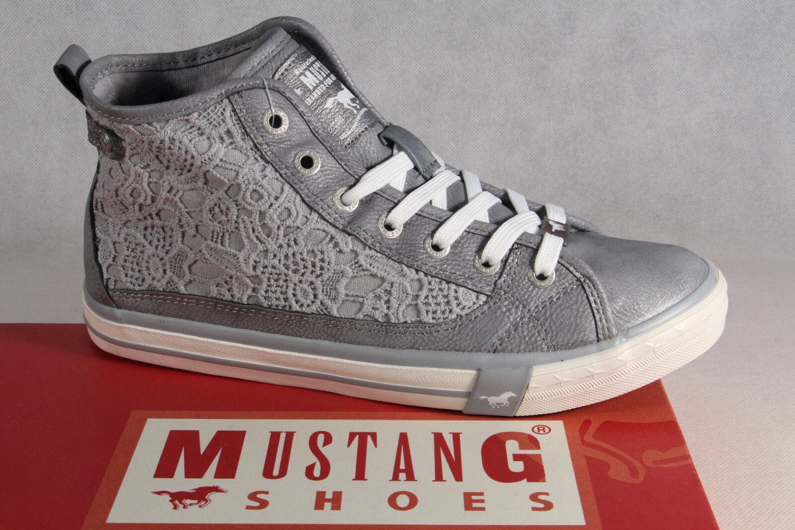 Zapatos promocionales para hombres y mujeres MUSTANG botas zapatos de Cordones Cordón Deportivos abotinados gris NUEVO