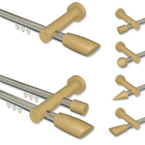 Gardinenstangen Vorhangstangen mit Edelstahl-Optik Innenlauf und Buche Zubehör