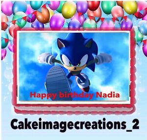 Sonic The Hedgehog Birthday Decoration Topper Cake Image Edible 1 4 Sheet Ebay
