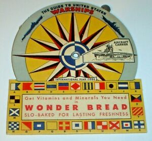 Vintage 1940's WWII Wonder Bread Guide To United States Warships Cardboard Dial