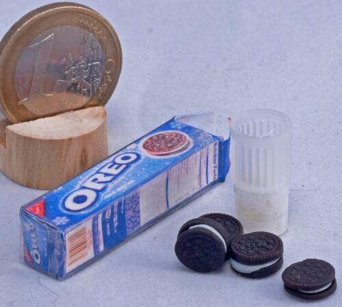 Breakfast set Dollhouse Miniatures glass milk cookie pack biscuit OREO decor