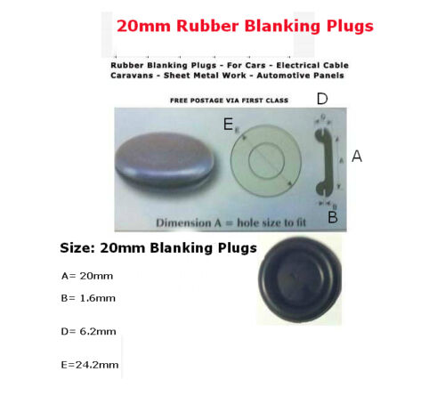 """20mm 3//4/""""  50 PCS RUBBER SNAP-IN BLANKING PLUG BODY HOLE BUNGS STOPPER GROMMETS"""