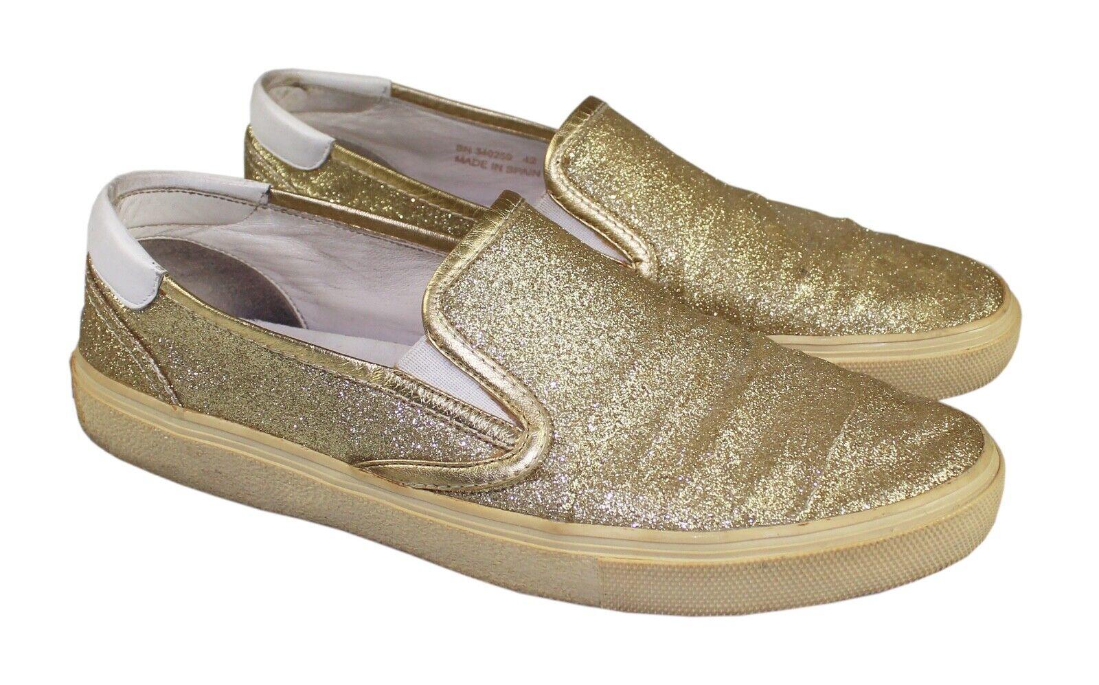 Men's SAINT LAURENT YSL Gold Glitter & Leather Low Top Slip-On Sneakers 42 / 9