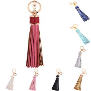 Image Is Loading Uk Leather Tassel Pendant Keyring Bag Purse Key