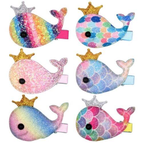 Girls Glitter Rainbow Whale Hair Clips Alligator Hairpin Baby Crown BarretteChic