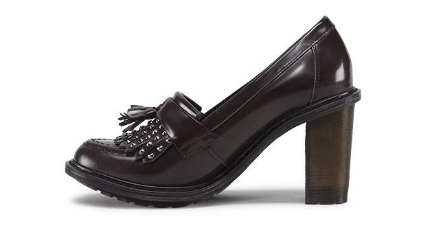 Doc Mairwen Marten charcoal gray arcadia Mairwen Doc slipon heeled studded loafer UK8 US10L e49107