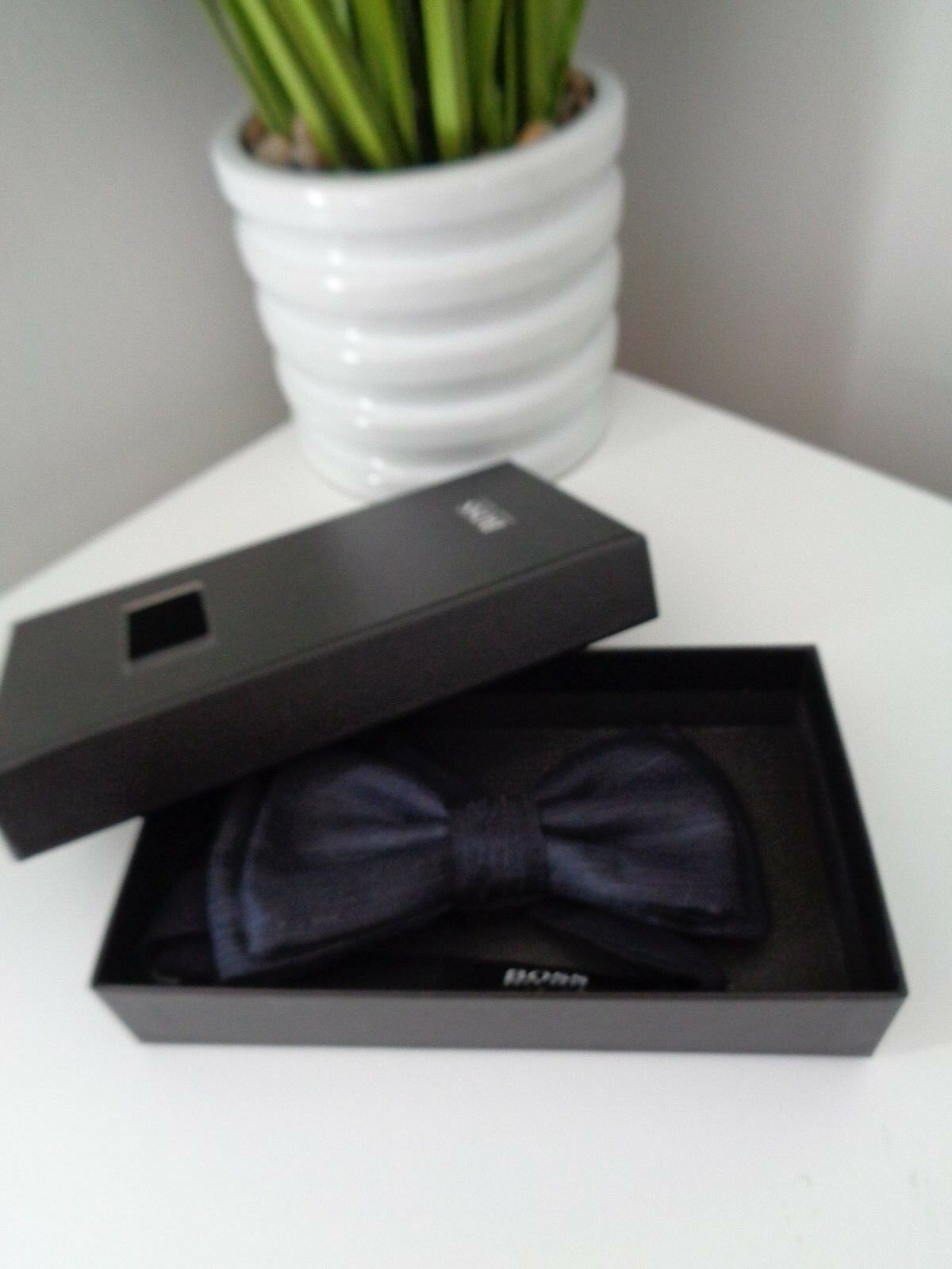 941f4734c679 Hugo Boss Italian Silk & Wool Dark Blue Bow Tie. Gift Idea Prom Save for  sale online | eBay