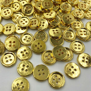 50-100pcs-Gold-Plastic-Buttons-12mm-Sewing-Craft-4-Holes-PT174