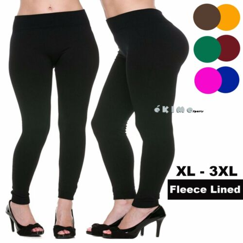 Warm Thermal Thick Fleece Lined Full Length Legging Pants Plus Size XL 2XL 3XL