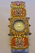 "Italian Look Enamel and ""Gem"" Bracelet Watch, Elastic Stringing Quartz Movement"