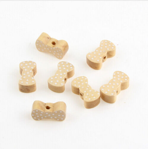Natural Wooden Tie Bowknot Spacer Beading Beads Pacifier Clip Wood Bead 20X11mm