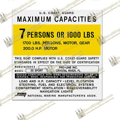 Multiple Variations Pro Line Capacity Plate Decals Boat Maximum Occupancy