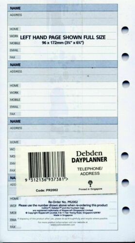 Debden DayPlanner Refill Personal Telephone Address Pages PR2002
