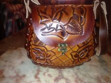 Authentic Hand-tooled Leather Purses. Traditional Mexican flower designs