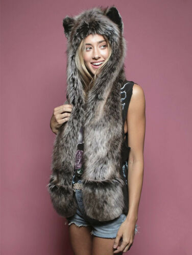 Grey Wolf Faux Fur Animal Ears Hat Gloves Mittens Long Scarf Snood Hood Paws