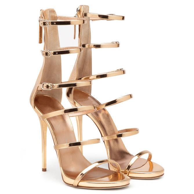 Women Gladiator Mid Calf Sandal Peep Toe High Heels Buckles Zip Pump Party Shoes