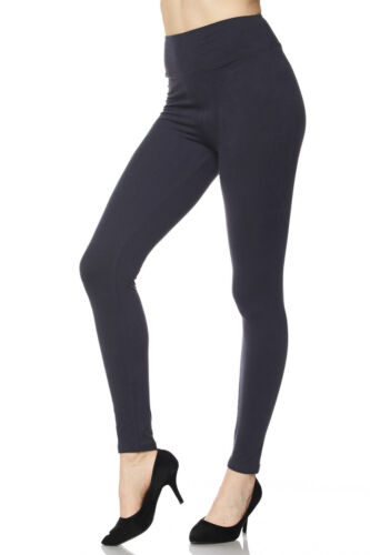 SOLID CHARCOAL GRAY YOGA WAIST LEGGINGS ONE SIZE OS PLUS SIZE TC BUTTERY SOFT