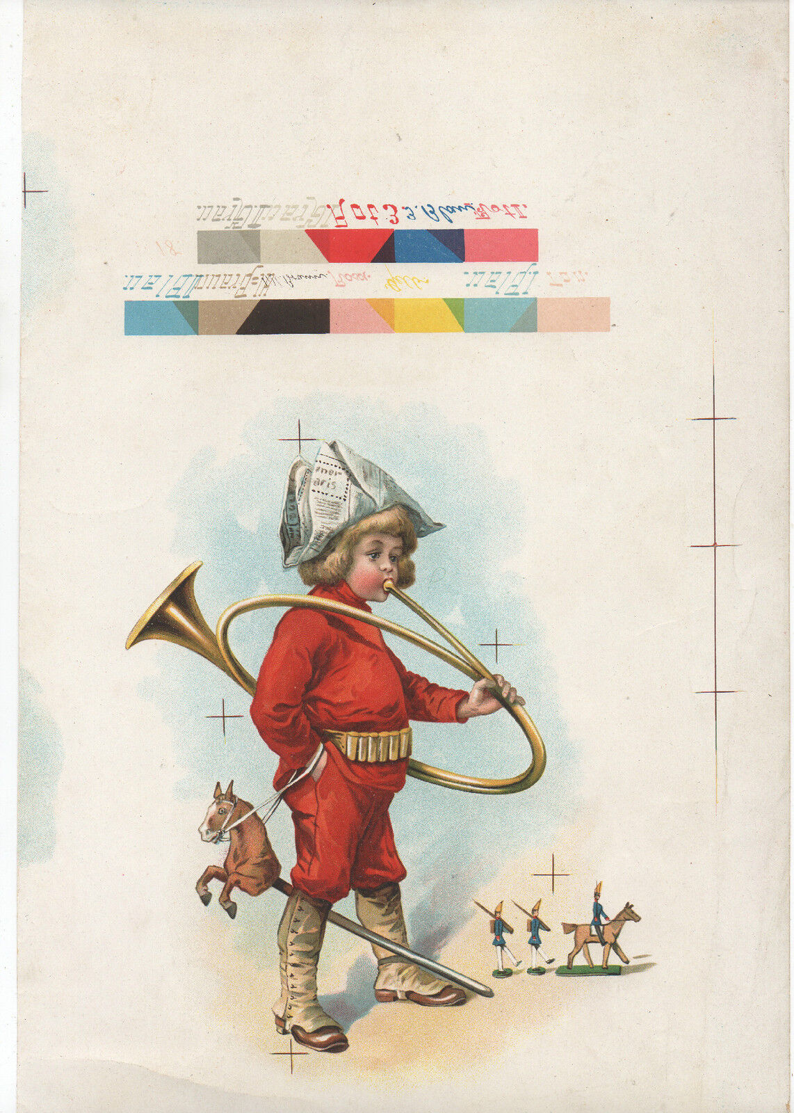 1900 Sample color Print of Boy playing a Horn holding a Horse Ride Toy