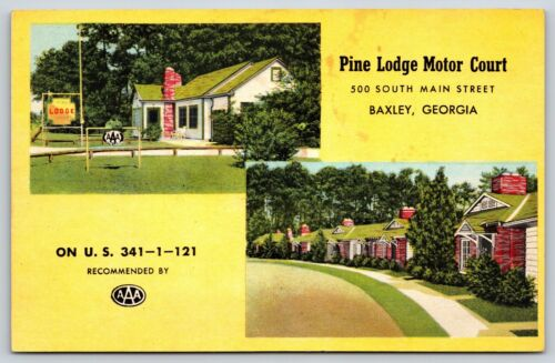 Pine-Lodge-Motor-Court-in-Baxley-Georgia-Appling-County-Chrome-Postcard