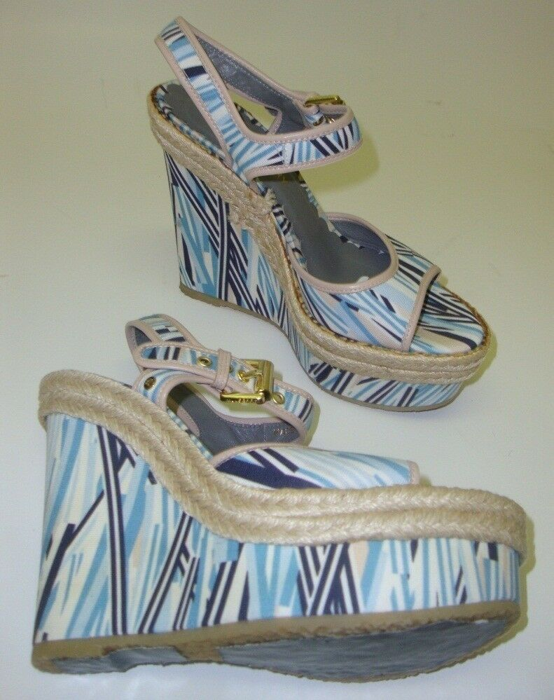 Mulberry Exhibition Piece Womens Pumps Sandals with Wedge White Colourful 37 NEW