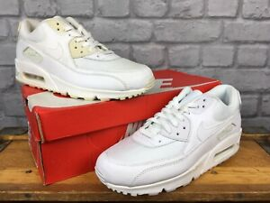 NIKE-MENS-AIR-MAX-90-WHITE-LEATHER-MESH-TRAINERS-GRADE-B-RRP-115-VARIOUS-SIZES