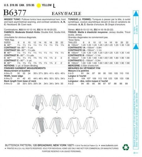 Butterick Ladies Easy Sewing Pattern 6377 Jersey Knit Asymmetical Tunic Tops ...