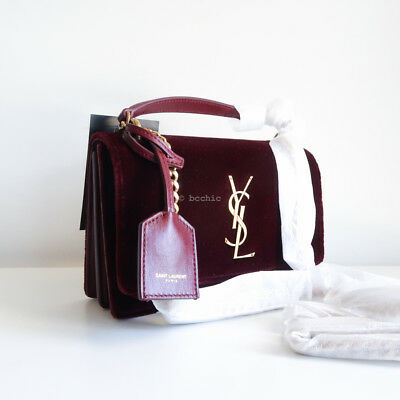 100 Auth Saint Laurent Small Sunset Velvet Shoulder Bag