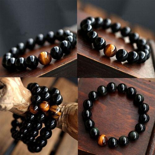 Natural Tiger eye Stone 8-12mm Round Beads Stretchy Women Men Bracelet Bangle .