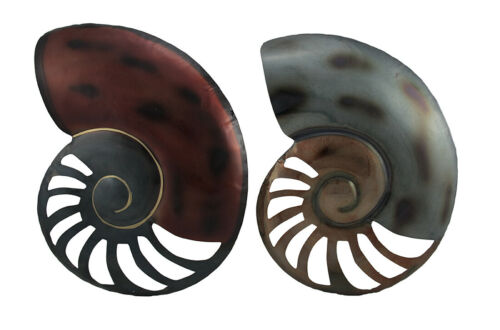 Zeckos Set of 2 Decorative Metal Nautilus Shell Wall Hangings 18 inch