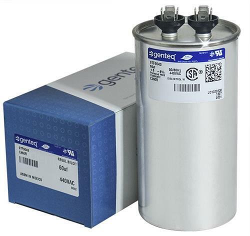 Genteq • 60 uf  440 VAC • Round Run Capacitor • C460R • 97F9043 GE