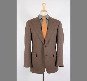 Samuelsohn 40R Brown Solid Wool Two Button Sport Coat