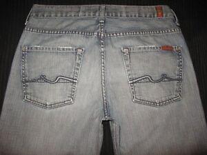 7 For All Mankind Hommes Souple Jeans 31 X 31 Coupe Droite Délavé 100% Cotton