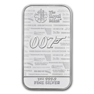 GRANDE-BRETAGNE-Lingot-Argent-1-Once-James-Bond-007-2020-No-Time-to-Die
