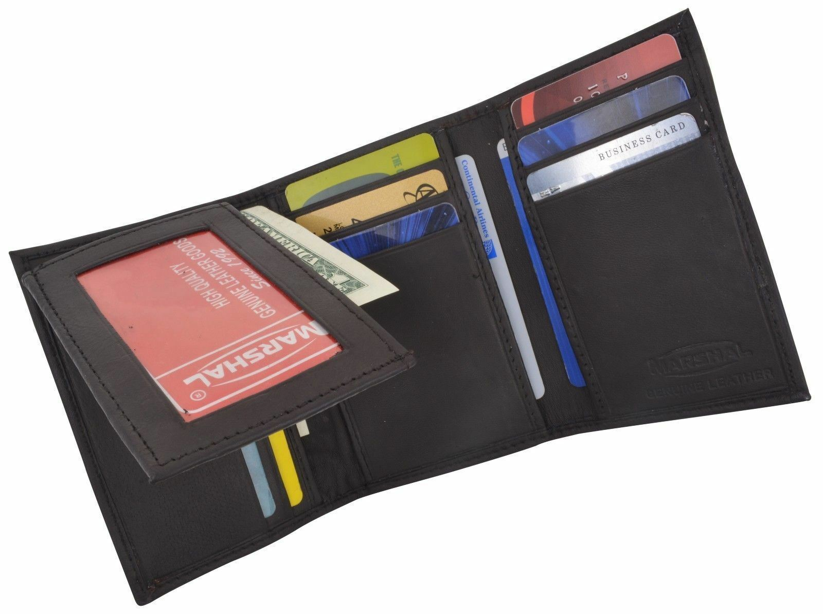 Genuine Leather Men's Trifold Wallet Credit Card Flap Top ID Holder