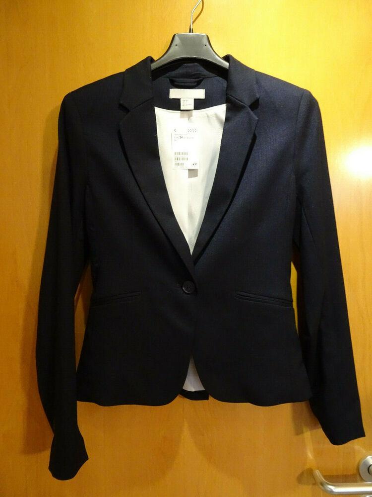 Business Blazer, H&m, Taille 34, Noir, 1-bouton Arrière M. Fente, Nouveau, Np 29,99 €