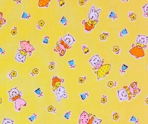 MD298-Rabbits-Bunny-Cats-Kitty-Floral-30-039-s-Feedsack-Style-Cotton-Quilt-Fabric